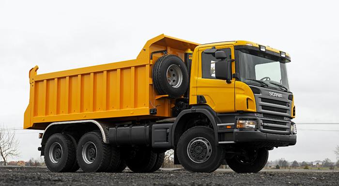 Scania complete vehicle,  Scania P 380 6x6 heavy-duty tipper.  Poland  Photo: Göran Wink
